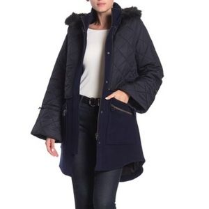 Joie Hetal Layered Faux Fur Trim Coat Midnight